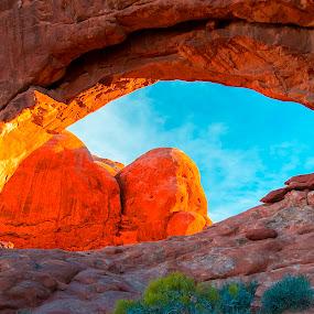 Keyhole Arch by Jerry Alt - Landscapes Caves & Formations ( moab, blazing, keyhole, blaze, sun, golden )