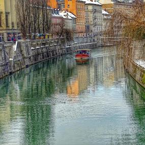 Reflections along the river at Ljubljana by Patrizia Emiliani - City,  Street & Park  Vistas ( hdr, slovenia, ljubljana, reflections, boat, river,  )