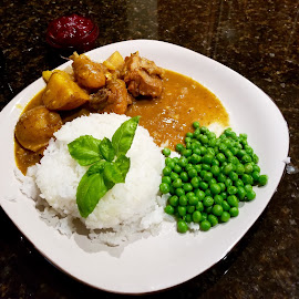 Jamaican Chicken Curry with Gold Potatoes  by Michael Villecco - Food & Drink Plated Food ( chicken, jamaica, rice, potatoes, peas, curry )