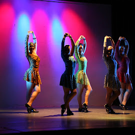 Under The Lights by Gary Malander - People Musicians & Entertainers ( lights, pose, colourful, dancers, silhouette, dance )