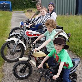 On yer bike by Caroline Beaumont - People Family ( motorbike, bikes, family, motorcycle, norton )