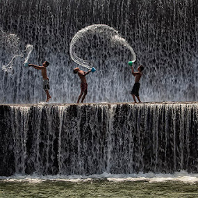 Happy Boys by Nyoman Sundra - Babies & Children Children Candids ( water, friends, splash, children, candid, river )