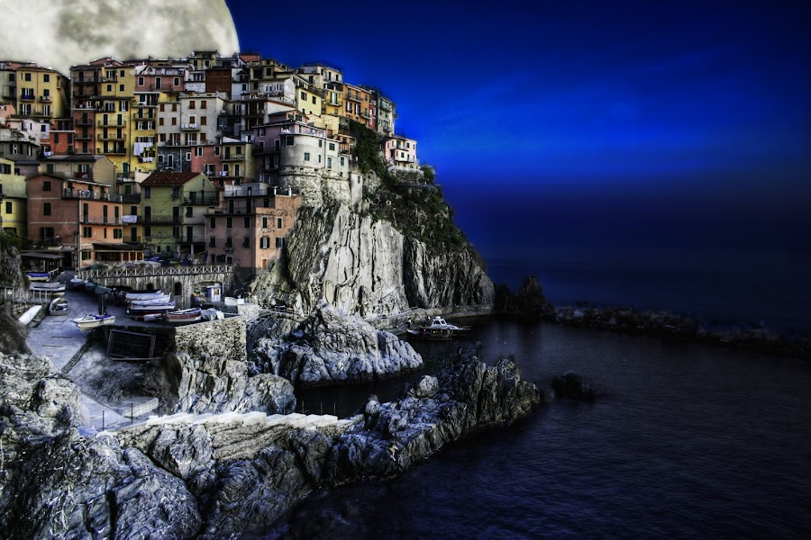 Fishtown Moon by Michael Rupp - Landscapes Travel ( moon, fishtown, italy )