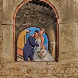 window by Eseker RI - Wedding Bride & Groom