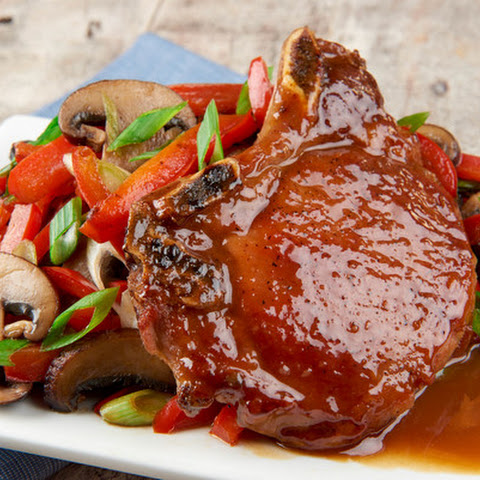 Miso Honey Bone-in Pork Chops With Pepper-Mushroom Stir Fry