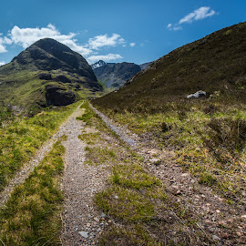 Highland paths. by Haim Rosenfeld - Landscapes Mountains & Hills ( exposure, scotland, old, europe, mountain, colorful, land, stone, rock, travel, road, north, landscape, adventure, sky, kingdom, shadow, path, light, lonely, foreground, clouds, orange, celtic, texture, colors, green, scottish, image, brawn, scenic, highlands, photo, blue, outdoor, brown, scenery, bridge, stones, stunning, britain )