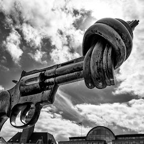 No Weapons by Luca Rosacuta - Buildings & Architecture Statues & Monuments ( clouds, monochrome, b&w, peace, gun )
