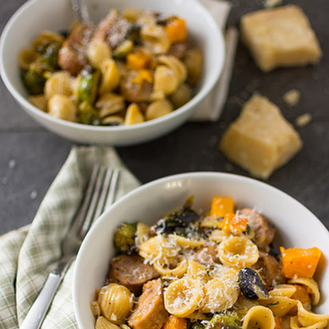 Orecchiette with Butternut Squash, Brussels Sprouts and Sausage