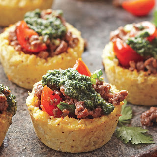 Cauliflower Cups with Herb Pesto and Lamb