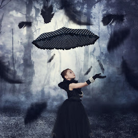 Haunted by Terry Pitman - Babies & Children Child Portraits ( floating, haunted, motion, feathers, conceptual, black )