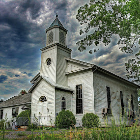 Unidentified Church in Gainesville, VA by Elk Baiter - Buildings & Architecture Places of Worship ( clouds, old, sky, church, landscape, abandoned,  )