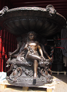The Base of a 4 meter high bronze fountain on its way to Verona in Italy