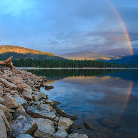 Rainbow over Lake Siskiyou by Wenjie Qiao - Landscapes Weather ( lake siskiyou, sunrise, rainbow )