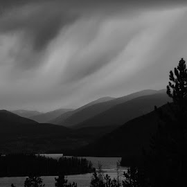 First Fall Storm by Marko Ginsberg - Black & White Landscapes ( clouds, mountains, b&w, trees, lake, storm,  )