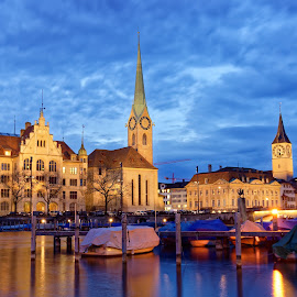 Center of Zurich by Michaela Firešová - City,  Street & Park  Historic Districts ( center, towers, boats, evening, river )