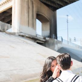 My Whisper To You by Yansen Setiawan - Wedding Other ( urban, los angeles bridge, lovers, wedding, couple, engagement )