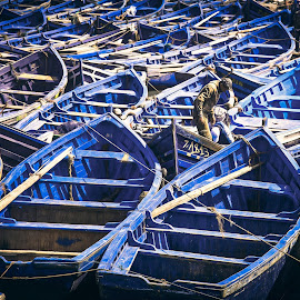 I want it only blue by Nicola Adami - Transportation Boats ( blue, colorful, color, boats, morocco, fisherman )