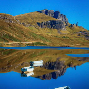 Storr Lochs on the Isle of Skye . by Gordon Bain - Landscapes Waterscapes ( trotternish ridge, reflections, scotland ., storr, isle of skye )