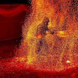 ALCHEMY OF FIRE by Gianfranco Marzetti - City,  Street & Park  Street Scenes ( templaria, templari, castignano, alchemy, fire )