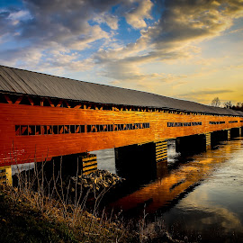 covered bridge in sunset by Philippe Lacroix - Buildings & Architecture Bridges & Suspended Structures