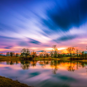 Lansing sunset by Mike Svach - Landscapes Sunsets & Sunrises ( water, clouds, colors, sunset, night, nikon )