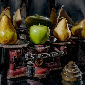 Balanced by Jon Kinney - Artistic Objects Still Life ( fruit, apple, reflections, vintage scale, pear )