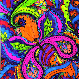 Butterfly Dreams by Amada Gonzalez - Illustration Abstract & Patterns ( abstract, butterfly, colorful, art, rainbow )