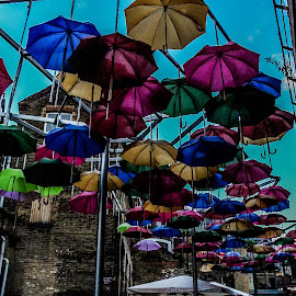 Raining colours by Mandy Hedley - City,  Street & Park  Street Scenes ( umbrellas, street, artistic, rain, colours )