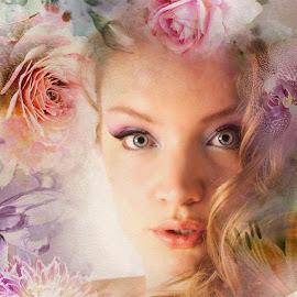 Flower Power. by Kathryn Potempski - Digital Art People ( double exposure, digital art, portraits, flowers, eyes )