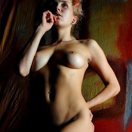 by DJ Cockburn - Nudes & Boudoir Artistic Nude ( studio, von kuntz, model, art nude, blonde, low key, woman, shadow, thoughtful, helena kuntz, standing, portrait )