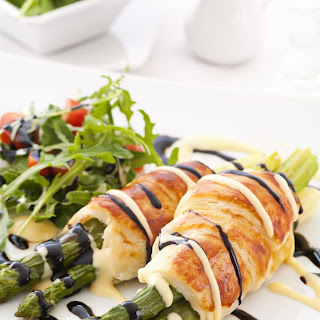 Pastry-Wrapped Roasted Asparagus with Dipping Sauce
