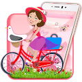 salmon Pink Cute Girl theme 2D APK for Bluestacks