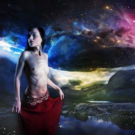 Dekilah Dances in the Beyond by Joshua Winstead - Digital Art People ( digitalart, dekilah, model, nude, compositeart, artnude, space, barebreasted, bare, spacey, composite )