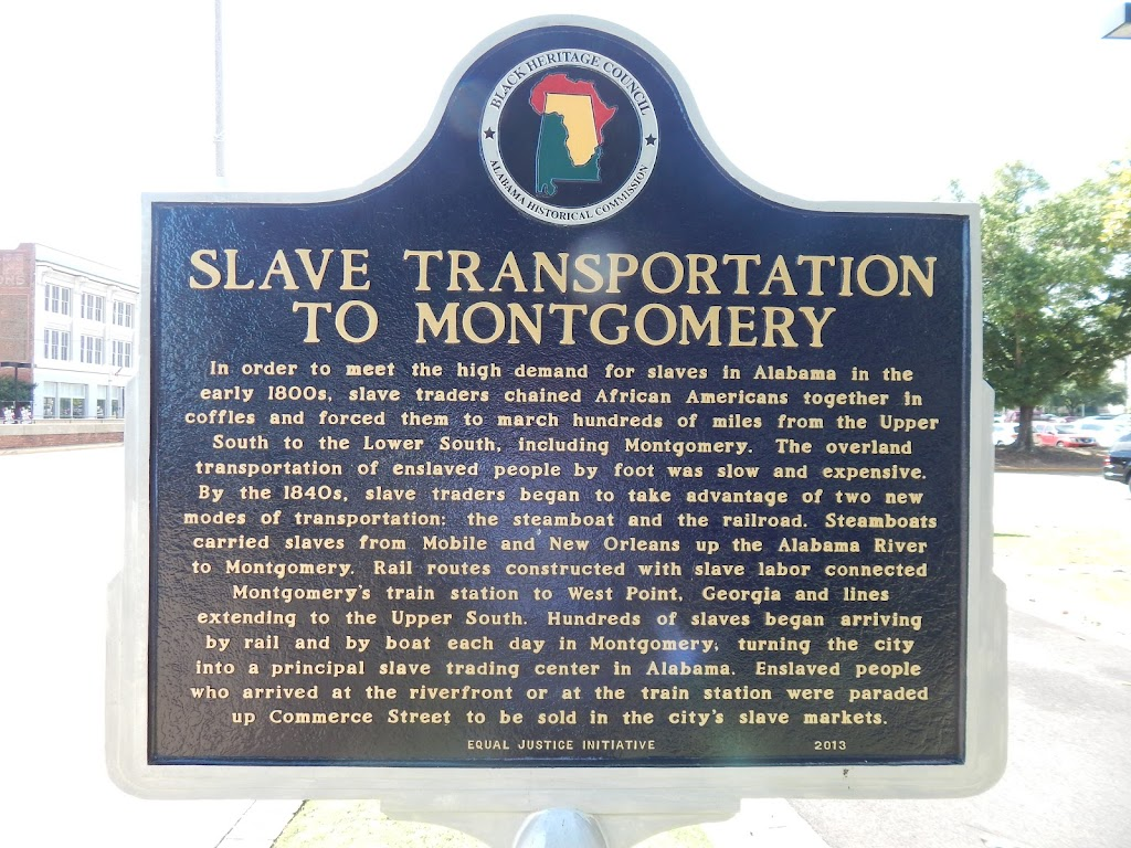 SLAVE TRANSPORTATIONTO MONTGOMERY In order to meet the high demand for slaves in Alabama in theearly 1800s, slave traders chained African Americans together incoffles and forced them to march ...