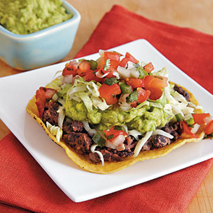Veggie Tostadas with Black Beans and Easy Guacamole Recipe | Yummly