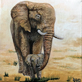 Mum's Elephant by Stephanie Veronique - Painting All Painting ( canvas, africa, safari, painting, calf, cattle, acryic, elephant, kenya )