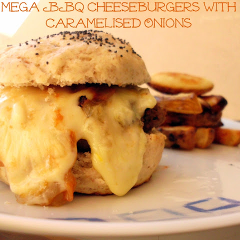 Mega BBQ Cheeseburger with Caramelised Onions
