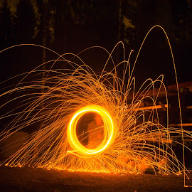 The rain of fire by Kevin Holberg - Abstract Fire & Fireworks ( abstract, steel wool, awesome, steelwool, night, steel, wool, fire )