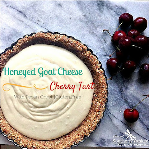 Honeyed Goat Cheese Cherry Tart with Pecan Crust {Gluten Free}