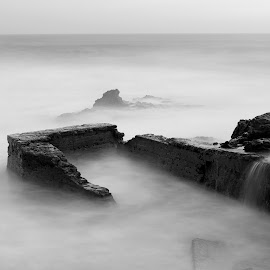 Beach with ruins by Davide Almeida - Landscapes Beaches ( shore, old, sky, ancient, waves, tide, sea, ruins, beach, landscape, longexposure )