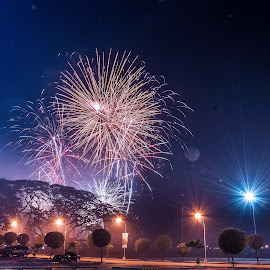 Fireworks at the Park by Phlaire Nix - Abstract Fire & Fireworks ( abstract, orange and blue, parking lot, park, clark pampanga, holidays, city parks, fireworks, pampanga, sm pampanga, sm clark, philippines, fire & fireworks, city at night,  )