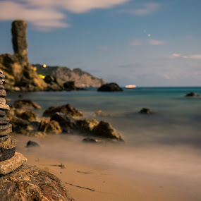 A Stone a wish by Inma  Monte Picante - Landscapes Waterscapes ( ibiza, es figueral, sea, long exposure, stones )