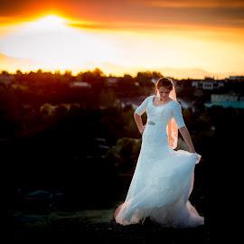 by Aubree Larsen - Wedding Bride ( dress, sunset, white, veil, bride, city )