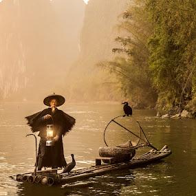 Golden Fisherman by Jim Harmer - People Professional People ( lantern, cormorant fisherman, fishing, guilin, china )