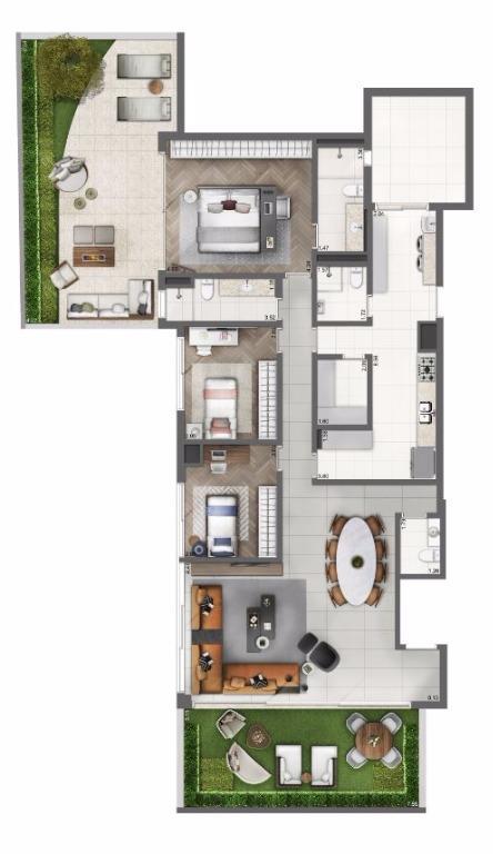 Planta Apto Garden - 239 m²