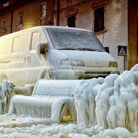 Frozen Europe by Sinisa Botas - Transportation Automobiles ( icy, bench, vehicle, street, frost, gripped, frozen, coast, chained, grunge, cold, nature, transport, january, ice, snow, 2012, shackled, weather, blocked, climate, frosty, covered, icebound, water, polar, cool, adriatic, hdr, white, croatia, chill, crystal, urban, winter, season, february, blue, freeze, outdoor, town )
