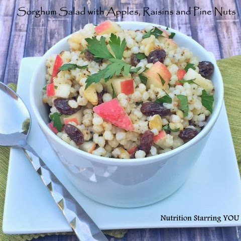 Sweet Sorghum Salad with Apples, Pine Nuts and Raisins
