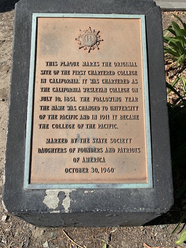 This plaque marks the original site of the first Chartered College in California. It was Chartered as the California Wesleyan College on July 10, 1851. The following year the name was changed to ...