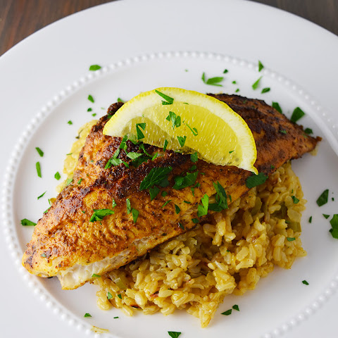 Blackened Catfish over Cajun Rice