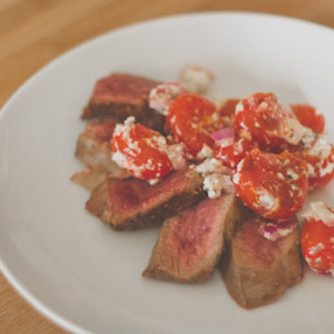 Lamb Leg Steak with Onions, Tomatoes and Feta
